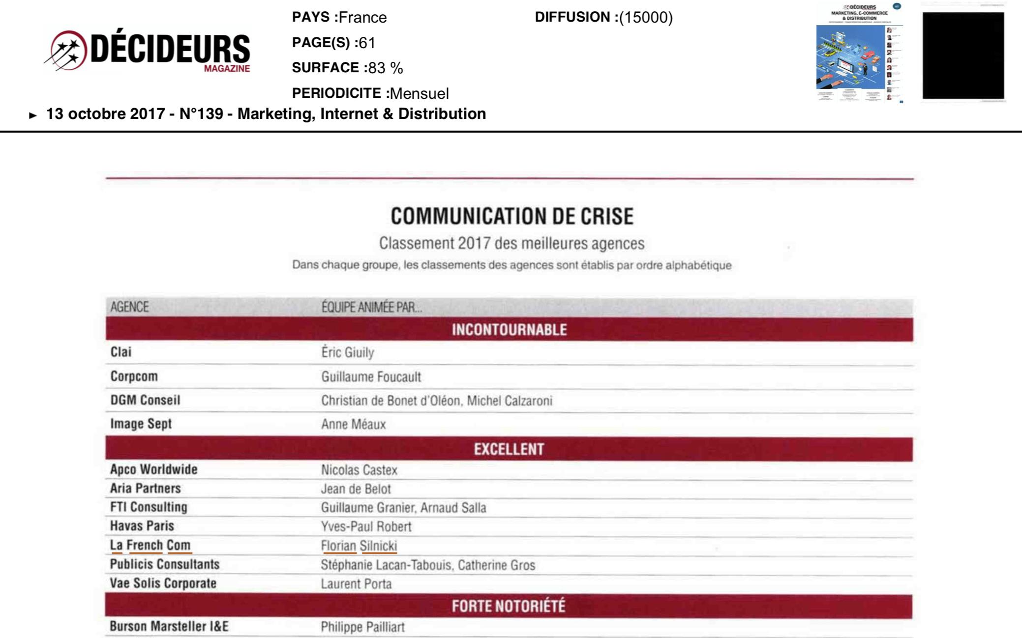 classement meilleur agence de communication de crise expert en gestion de crise communicant de crise