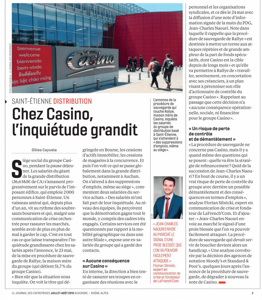 casino communication de crise